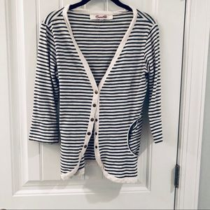 Francesca's collections navy and white cardigan